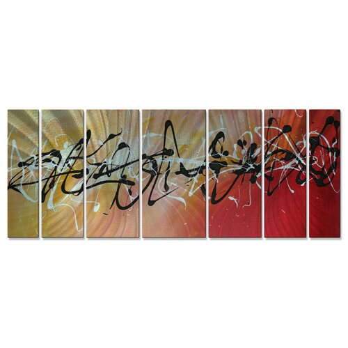 All My Walls 'Writing On The Wall' by Megan Duncanso 7 Piece Original Painting on Metal Plaque