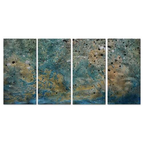 All My Walls 'On The Beach II' by Megan Duncanso 4 Piece Original Painting on Metal Plaque