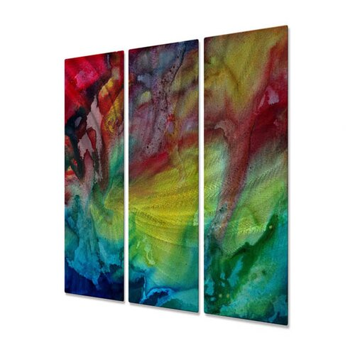 All My Walls 'Watermelon' Dreams by Megan Duncanso 3 Piece Original Painting on Metal Plaque