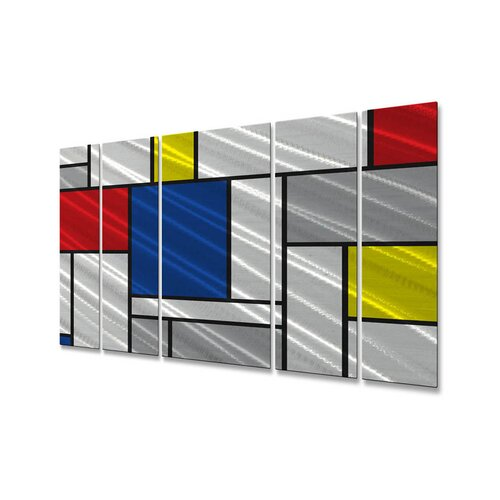 All My Walls 'Metallic Mondrian II' by Ash Car 5 Piece Original Painting on Metal Plaque