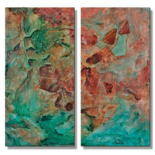 All My Walls 'Illusion' by Kelli Money Huff 2 Piece Original Painting on Metal Plaque Set