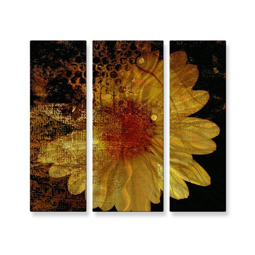 'Abstract Daisy' by Ruth Palmer 3 Piece Original Painting on Metal Plaque Set