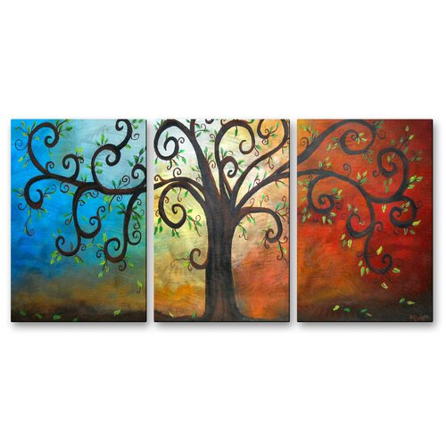 'Curly Tree' by Elaine Hodges 3 Piece Original Painting on Metal Plaque Set