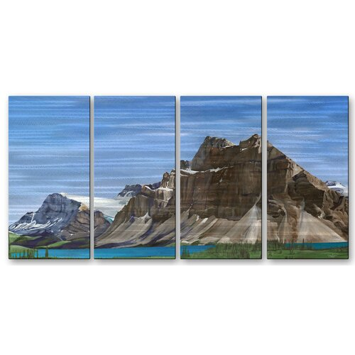 All My Walls 'Bow Lake' by Glen Frear 4 Piece Original Painting on Metal Plaque Set