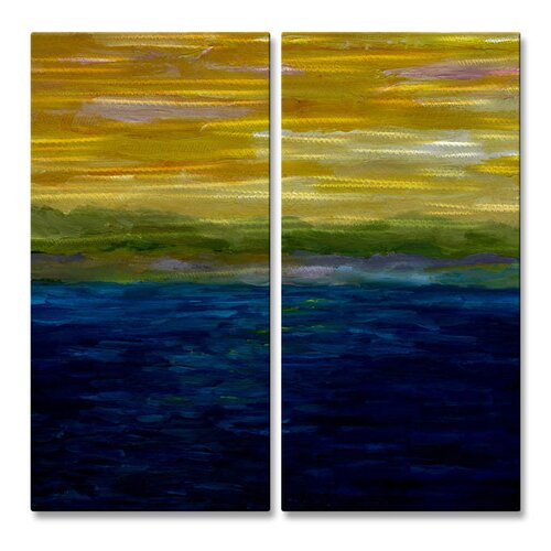 'Gold and Pink Sunset' by Michelle Calkins Original Painting on Metal Plaque Set