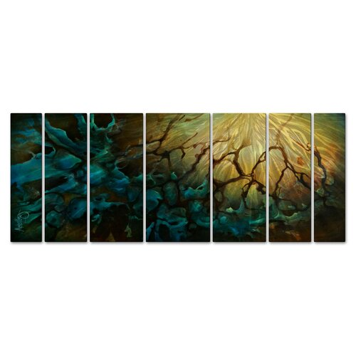 'Growing Agony' by Michael Lang 7 Piece Original Painting on Metal Plaque Set