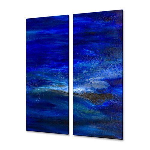 All My Walls 'Ice' by Angelika Mehrens 2 Piece Original Painting on Metal Plaque Set