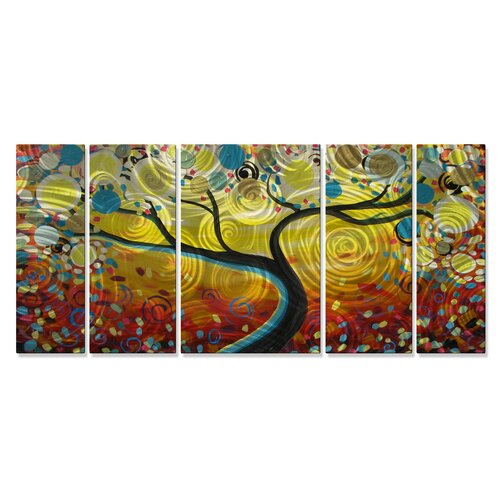 'Sunny Swirl Tree' by Danlye Jones 5 Piece Original Painting on Metal Plaque Set