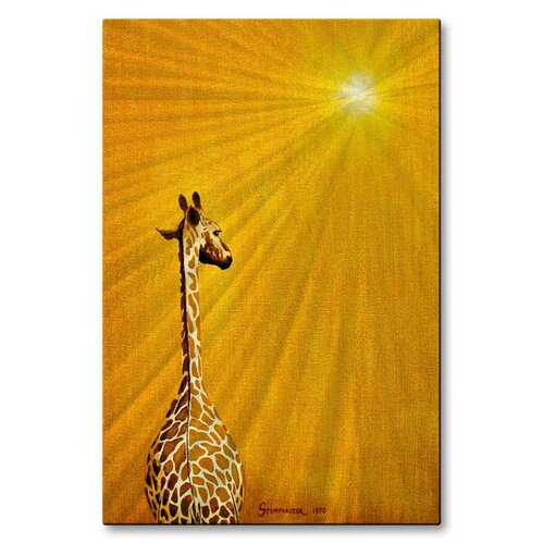 'Giraffe Looking Back' by Jerome Stumphauzer Original Painting on Metal Plaque