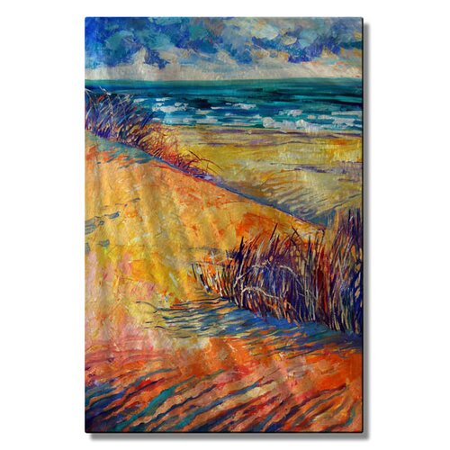 All My Walls 'Yellow Dunes' by Irina Ashcroft Original Painting on Metal Plaque