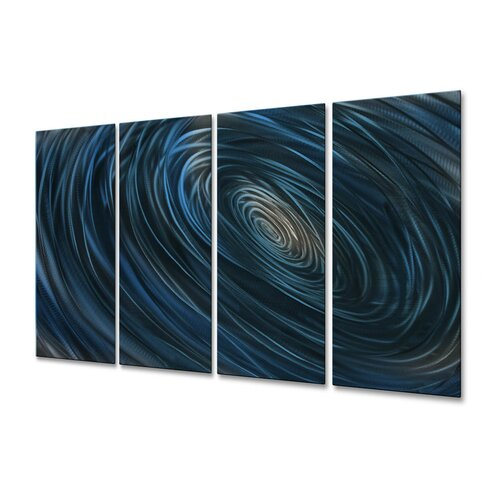 All My Walls 'Blue Abyss III' by Ash Carl 4 Piece Original Painting on Metal Plaque Set