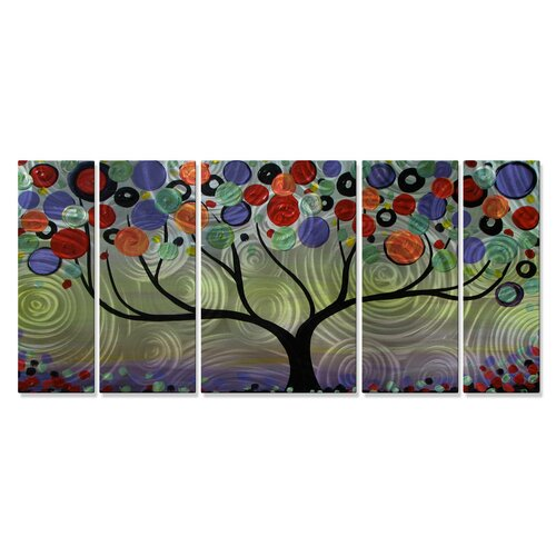 'Purple Swirl Tree' by Danlye Jones 5 Piece Original Painting on Metal Plaque Set