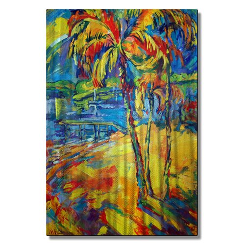 'Tropical Splash' by Irina Ashcroft Original Painting on Metal Plaque