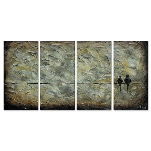 'Birds On A Wire' by Danlye Jones 4 Piece Original Painting on Metal Plaque Set ...
