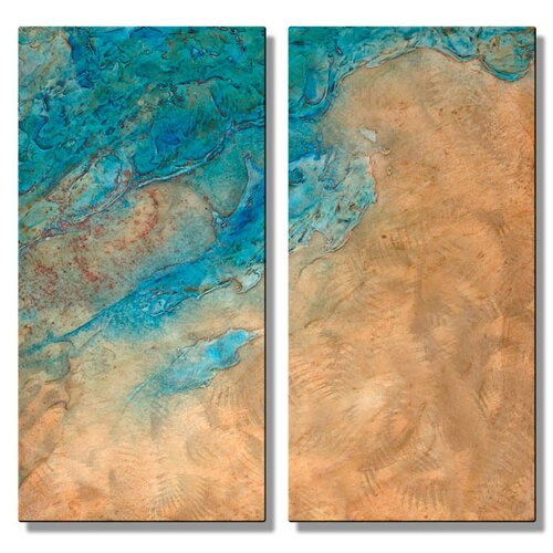 'Approach' by Kelli Money Huff 2 Piece Original Painting on Metal Plaque Set