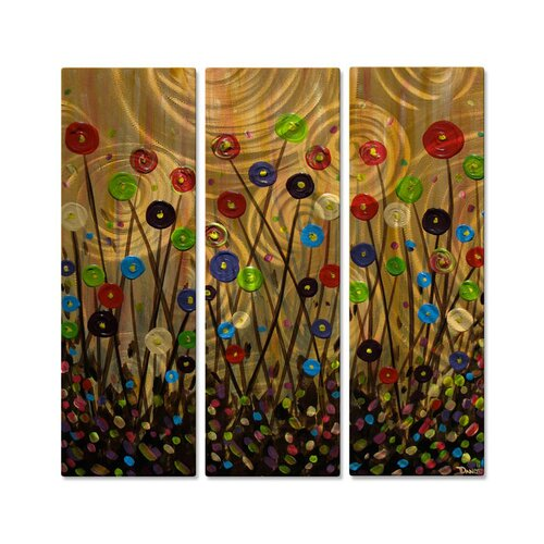 'Candy Fields' by Danlye Jones 3 Piece Original Painting on Metal Plaque Set