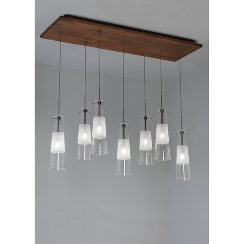 Fusion Jack Seven Port Wood Rectangle Canopy in Bronze