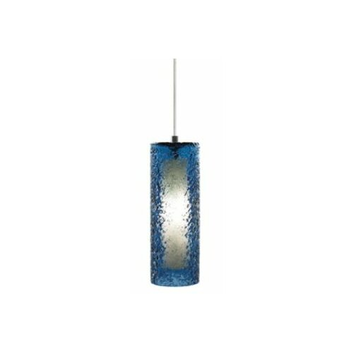 Mini- Rock Candy LED Cylinder Pendant Blue Steel Satin Nickel