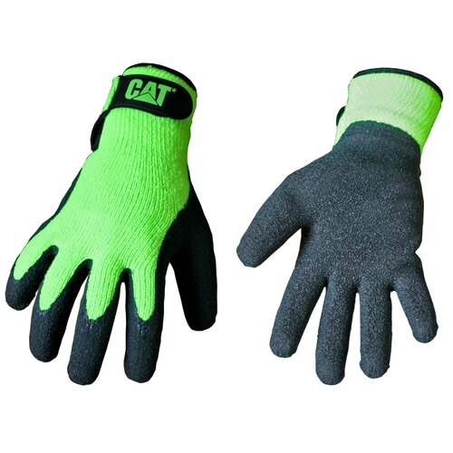 CAT Rainwear Boss Latex Coated Knit Gloves in Fluorescent Green