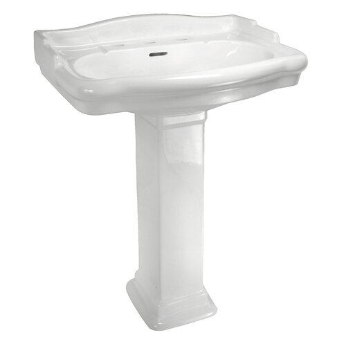 English Turn Pedestal Sink Top with Centers (Bowl Only)