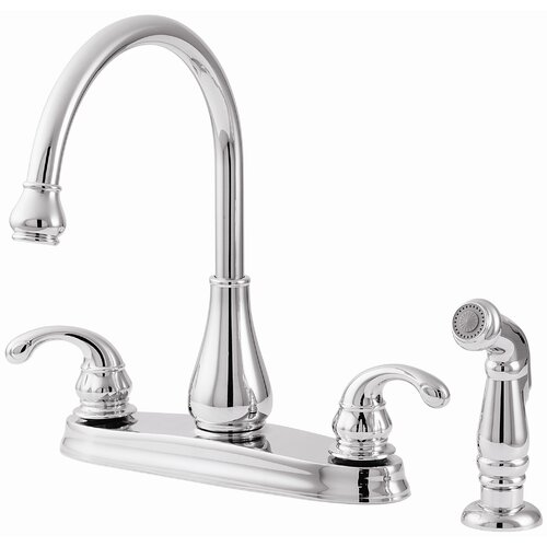 Price Pfister Treviso Two Handle High-Arc Centerset Kitchen Faucet with Side Spray
