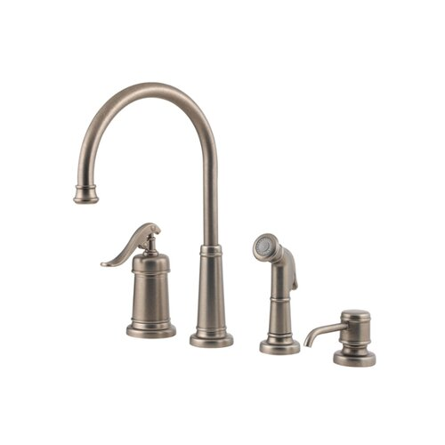 Ashfield One Handle Widespread Bar Kitchen Faucet with Side Spray and Soap Dispenser