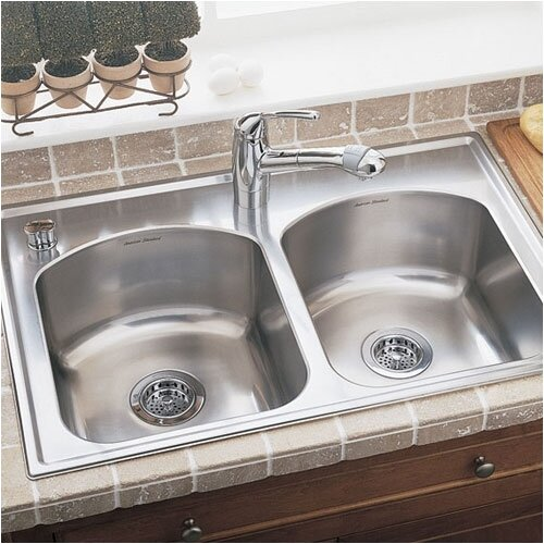 """American Standard Culinaire 33"""" x 22"""" Self-Rimming Top Mount Double Bowl Kitchen Sink"""
