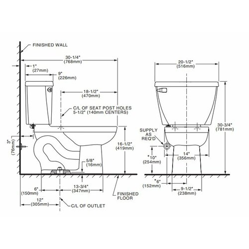 American Standard Cadet Right Height Pressure Assisted 1.6 GPF Elongated 2 Piece Toilet