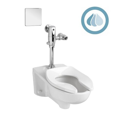 Afwall System Selectronic Exposed AC Flush Valve 1.28 GPF Elongated 1 Piece Toilet