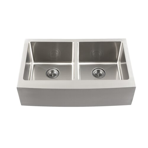 "Schon 33"" x 18.5"" Double Bowl Farmhouse Kitchen Sink"