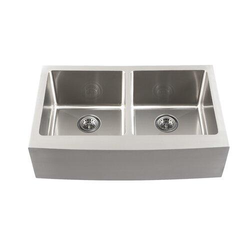 "Schon 33"" x 18.5"" Double Bowl Farmhouse Kitchen Sink"