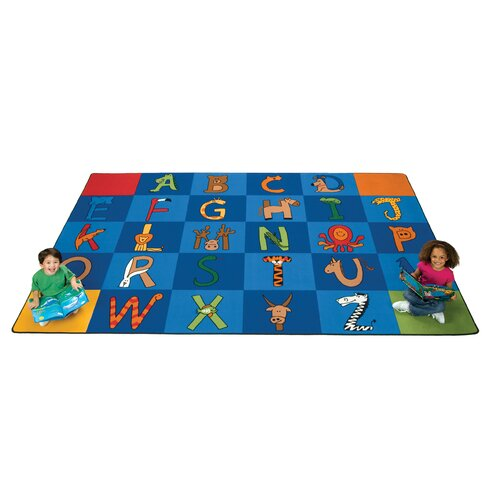 Carpets for Kids Carpet Kits Printed A to Z Animal Tile Kids Rug (Set of 26)