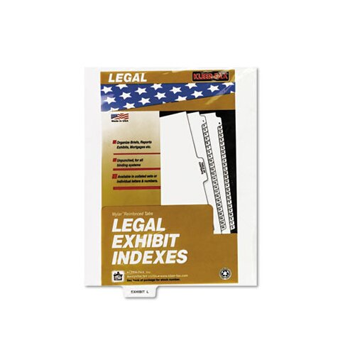 "Kleer-Fax, Inc. 80000 Series Legal Index Dividers, Bottom Tab, Printed ""Exhibit M"", 25/Pack"