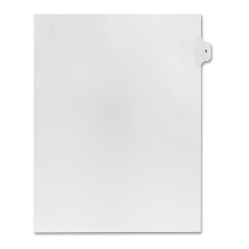 Kleer-Fax, Inc. Numerical Index Dividers, Exhibit 12, Letter, 10/BX White