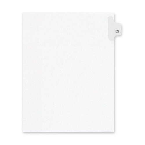 Kleer-Fax, Inc. Index Dividers,Number 52,Side Tab,1/25 Cut,Letter,25/PK,WE