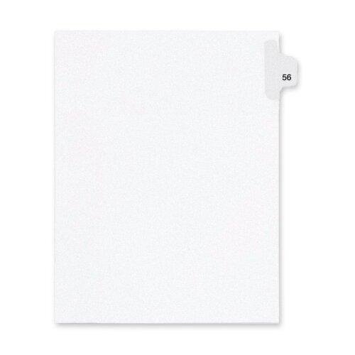Kleer-Fax, Inc. Index Dividers,Number 56,Side Tab,1/25 Cut,Letter,25/PK,WE