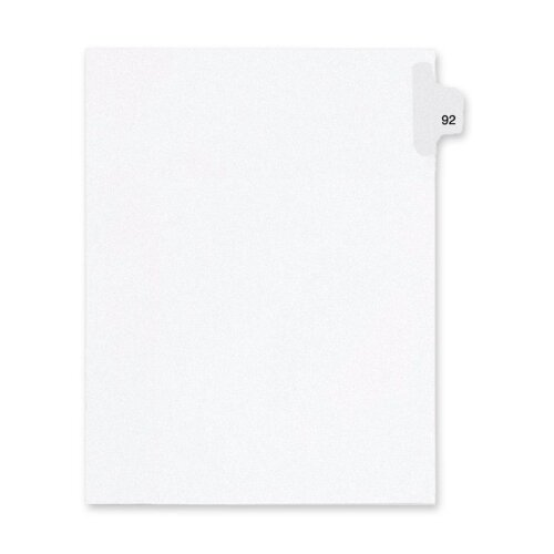 Kleer-Fax, Inc. Index Dividers,Number 92,Side Tab,1/25 Cut,Letter,25/PK,WE