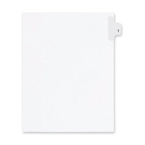 "Kleer-Fax, Inc. 90000 Series Legal Exhibit Index Dividers, Side Tab, Printed ""1"", 25/Pack"
