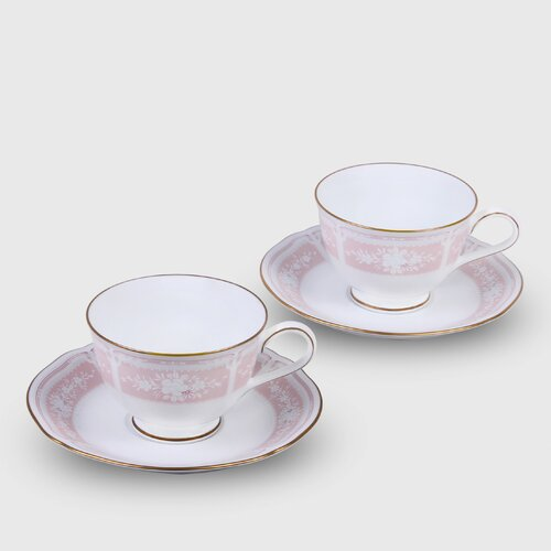 Noritake Lacewood Gold Pink 8 oz. Cup and Saucer