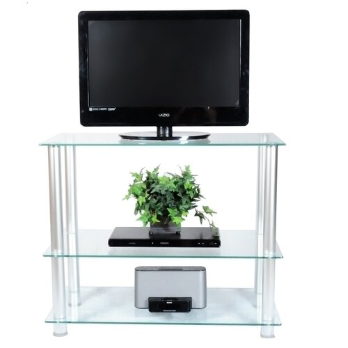 "RTA Home And Office Extra Tall Glass and Aluminum 35"" TV Stand"