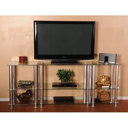 "RTA Home And Office Extra Tall Glass and Aluminum 82"" TV Stand"