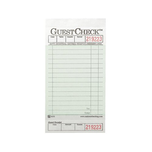 National Checking Company™ One-Part Board Guest Check Pad