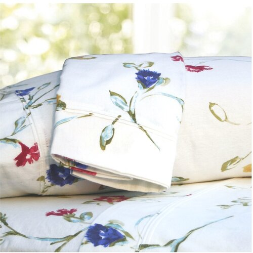 Tribeca Living Floral Garden Printed Extra Deep Pocket Flannel Sheet Set