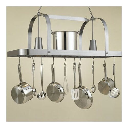 Hi-Lite Baker Large Rectangular Pot Rack with 2 Lights
