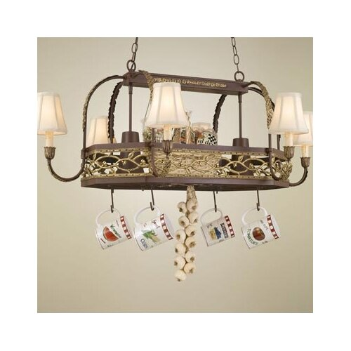 Hi-Lite Napa Chandelier Pot Rack with Shade
