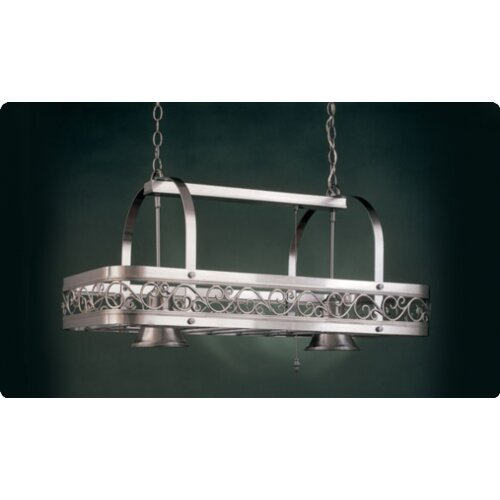 Hi-Lite Odysee Rectangular Hanging Pot Rack with 2 Lights