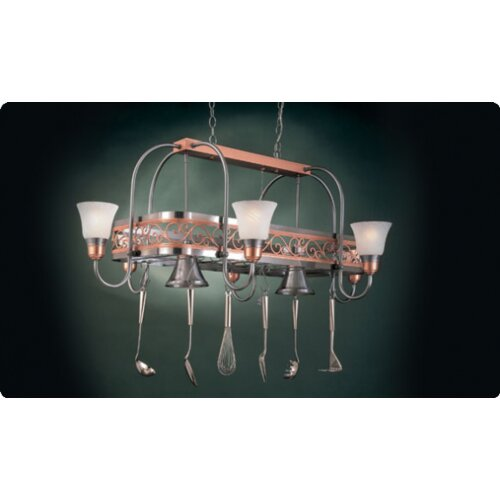Odysee Rectangular Hanging Pot Rack with 8 Lights