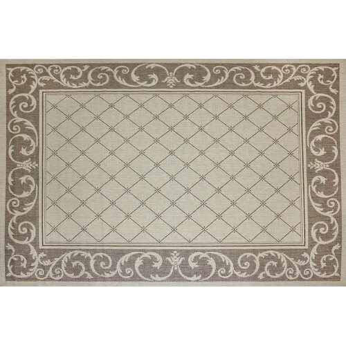 Lattice Scroll Tan Indoor/Outdoor Rug