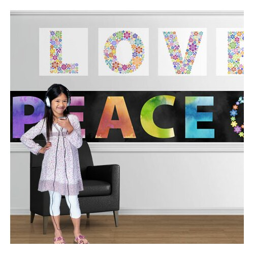 4 Walls Peace and Love Mural Style Wallpaper Border