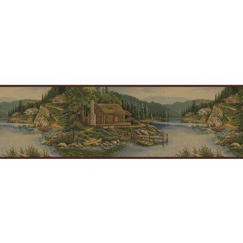 4 Walls Lodge Décor Cabin Scenic Border Wallpaper
